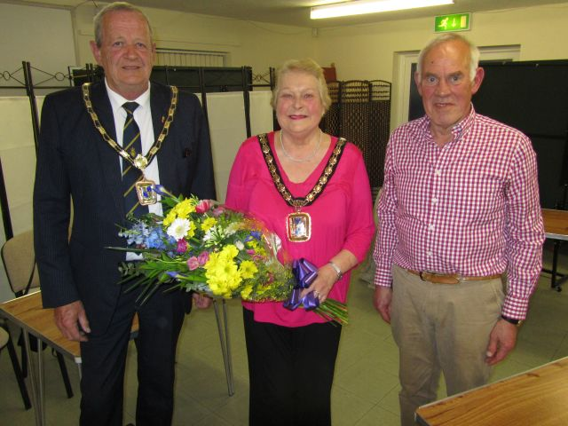 Mayor Leah Turner, Consort Andy Cousins and Chairman Peter Loveridge